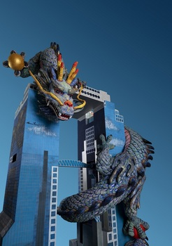⑪祝 飛龍遊々スカイビル(立体)_Flying dragon frolicing around the Sky Building(Sculpture).jpg