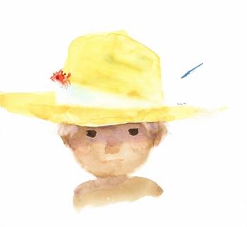 【6】麦わら帽子に蟹をのせた少年(1971年) (800x734).jpg